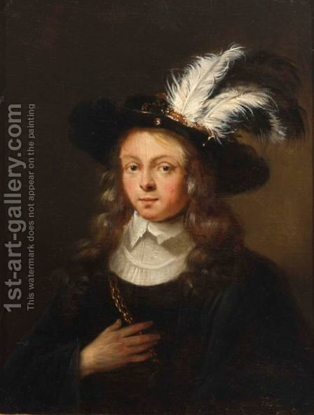 A Portrait Of A  Young Man, Bust Length, Wearing A Black Coat With White Collar And A Feathered Hat by (after) Arie De Vois - Reproduction Oil Painting