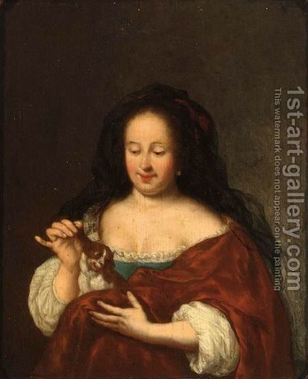 A Young Lady Playing With A Puppy King Charles Spaniel On Her Lap by (after) Frans Van The Elder Mieris - Reproduction Oil Painting