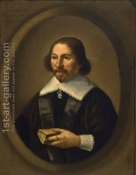 A Portrait Of A Gentleman, Aged 48 by (after) Isaack Jacobsz. Van Hooren - Reproduction Oil Painting