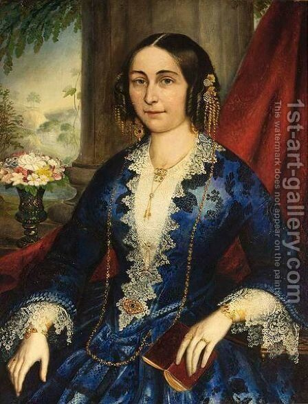 Portrait Of An Elegant Lady, Seated Three-Quarter Length, Wearing A Blue Dress by Italian School - Reproduction Oil Painting