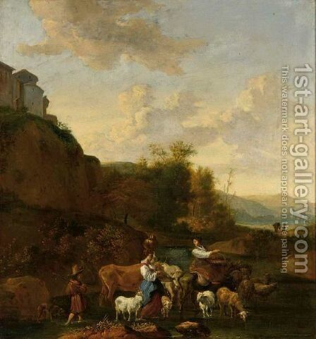 Shepherdesses And Their Flock In An Italianate Landscape by (after) Nicolaes Berchem - Reproduction Oil Painting