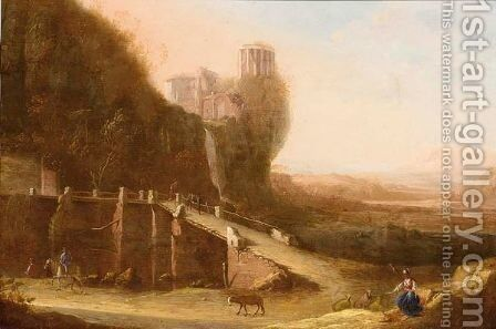 An Italianate Landscape With A Shepherdess And Travellers On A Path Near A Ruin by Dutch School - Reproduction Oil Painting