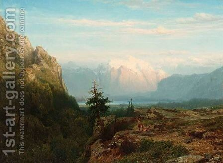 A Mountainous Landscape With Deer by Cornelis Lieste - Reproduction Oil Painting