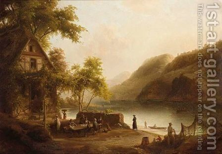 Travellers Drinking And Eating Near A Lake by Jacobus Nicolaas Tjarda Van Stachouwer - Reproduction Oil Painting