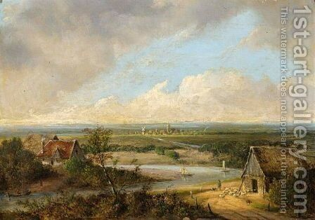 A Panoramic Landscape by Coenraad Alexander Weerts - Reproduction Oil Painting