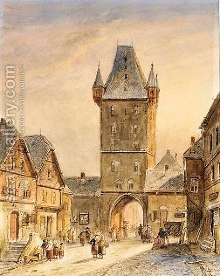 Figures Near A Towngate by Charles Henri Leickert - Reproduction Oil Painting