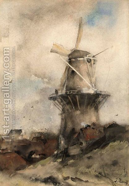 A Windmill In A Polder Landscape 2 by Jacob Henricus Maris - Reproduction Oil Painting
