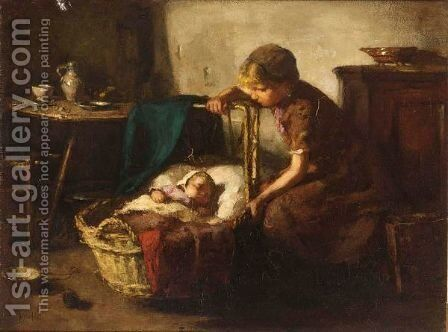 Watching Over The Baby by Andre Broedelet - Reproduction Oil Painting