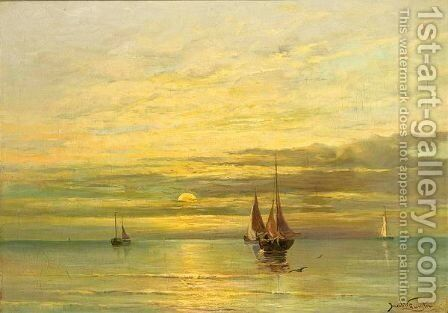 Fishing Boats On A Calm Sea by Jacob Willem Gruijter - Reproduction Oil Painting