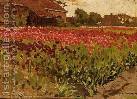 Paarsche En Roode Darwin Tulpen by Anton Lodewijk Koster - Reproduction Oil Painting