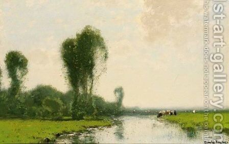 A River Landscape With Cows Near A Stream by Cornelis Kuypers - Reproduction Oil Painting