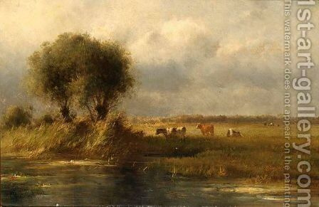 Cows In Summer Landscape by Cornelis Sr Westerbeek - Reproduction Oil Painting