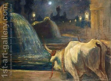 An Ox Near A Fountain by Jean Delvin - Reproduction Oil Painting