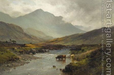 The Highland Ford by Alfred de Breanski - Reproduction Oil Painting