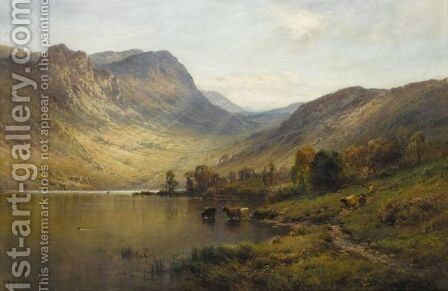 A Sunlit Loch by Alfred de Breanski - Reproduction Oil Painting