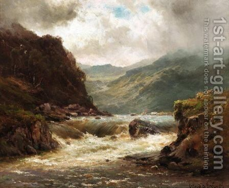 The Falls Of Glengarry by Alfred de Breanski - Reproduction Oil Painting