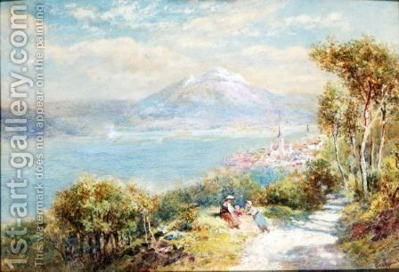 A View Of Lake Lucerne, Switzerland by Charles Rowbotham - Reproduction Oil Painting