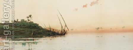 Dusk At Cairo by Augustus Osborne Lamplough - Reproduction Oil Painting