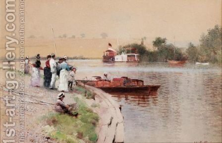 By The Riverbank by Hector Caffieri - Reproduction Oil Painting