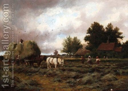 Gathering Hay by Joseph Paulman - Reproduction Oil Painting