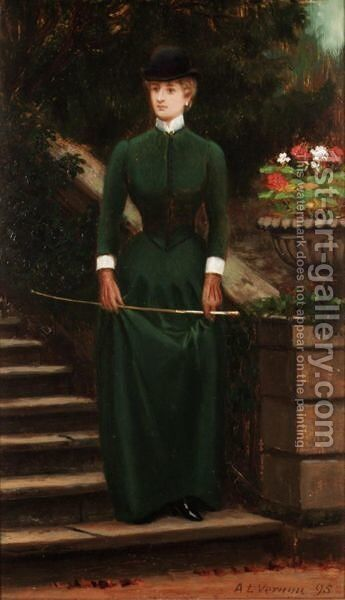 A Lady In Riding Clothes by Arthur Langley Vernon - Reproduction Oil Painting