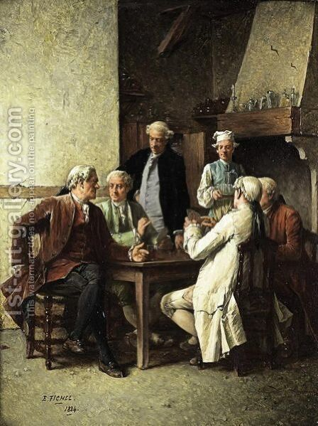 The Card Players by Benjamin Eugene Fichel - Reproduction Oil Painting