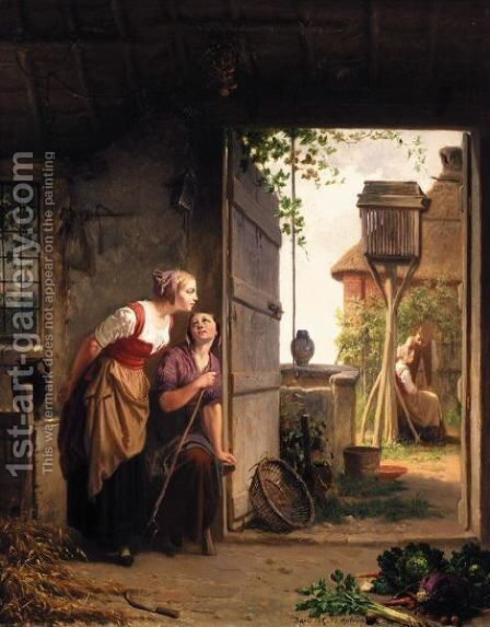 Listening At The Door by Jan David Col - Reproduction Oil Painting