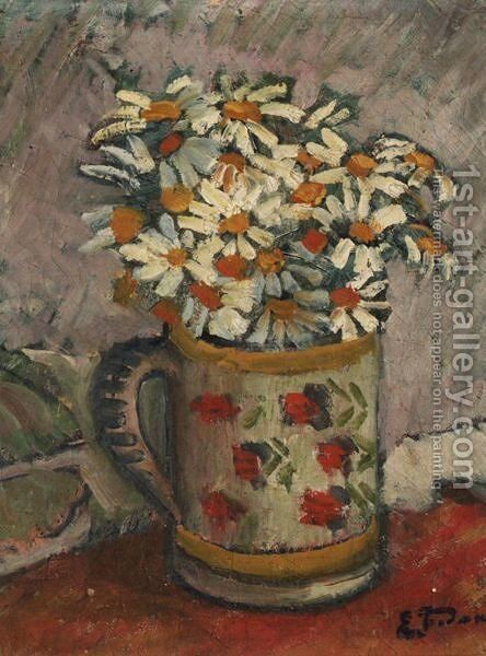 Nature Morte Aux Fleurs by Emile Jourdan - Reproduction Oil Painting