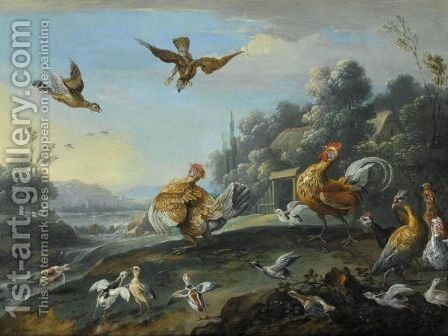 Chickens And Their Young Disturbed By Sparrow Hawks by Jan van Kessel - Reproduction Oil Painting