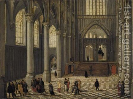 A Church Interior With Christ And The Woman Taken In Adultery by Abel Grimmer - Reproduction Oil Painting