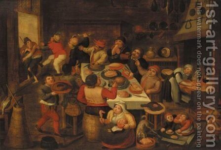 The Fat Kitchen by Marten Van Cleve - Reproduction Oil Painting