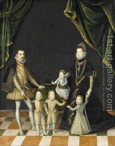 Group Portrait Of The Family Of Carlo Emanuele, Duke Of Savoy (1562 - 1630) by (after) Alonso Sanchez Coello - Reproduction Oil Painting