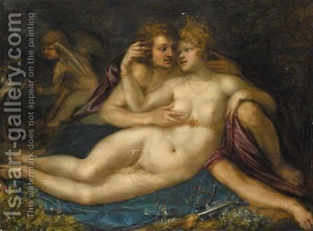 Mars And Venus With Cupid by (after) Pieter Isaacsz - Reproduction Oil Painting