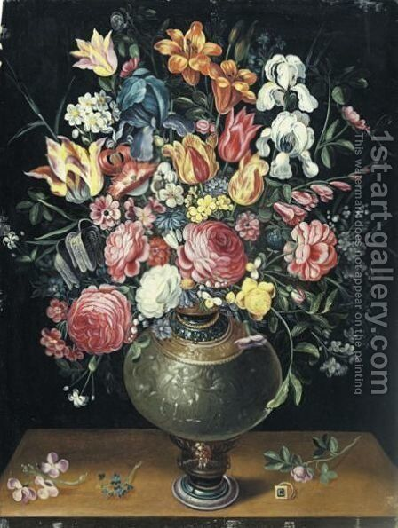 Still Life Of Roses, Tulips, Irises, Lilies And Other Summer Flowers In A Parcel Gilt Vase Beside A Ring Upon A Table by (after) Frans II Francken - Reproduction Oil Painting