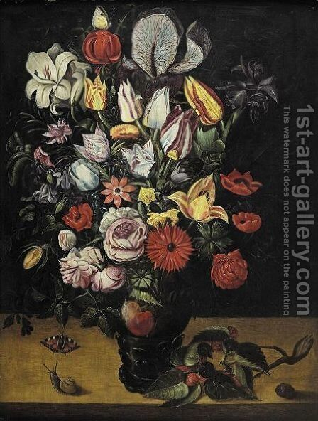 Still Life Of Roses, Tulips, Irises, Marigolds And Other Flowers In A Roemer by Antwerp School - Reproduction Oil Painting