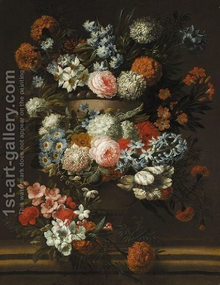 A Still Of Flowers In A Stone Urn, Including Roses And Chrysanthemums by Jan-baptist Bosschaert - Reproduction Oil Painting