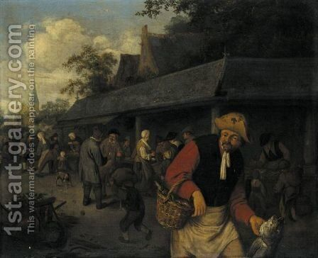 Market Stalls, With A Fisherman In The Foreground by Adriaen Jansz. Van Ostade - Reproduction Oil Painting