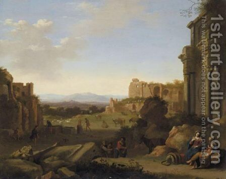 Italianate Landscape With The Rest On The Flight Into Egypt by Cornelis Van Poelenburgh - Reproduction Oil Painting