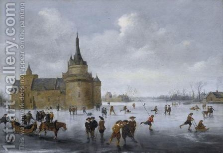 Skaters On A Frozen Lake Near A Castle by Anthonie Verstraelen - Reproduction Oil Painting