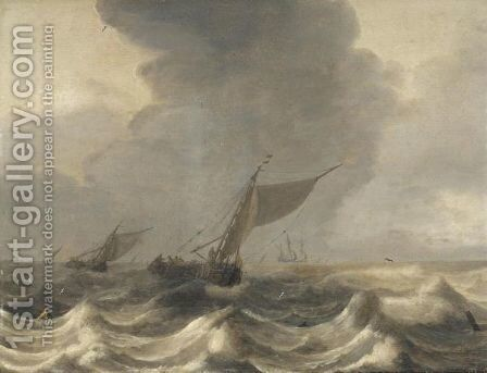 A Seascape With Smalschips In Choppy Waters by Jan Porcellis - Reproduction Oil Painting