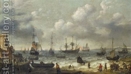A Coastal Scene With Numerous Figures On The Shore, A Dutch Man O'War Firing Its Cannon Beyond by Abraham Willaerts - Reproduction Oil Painting