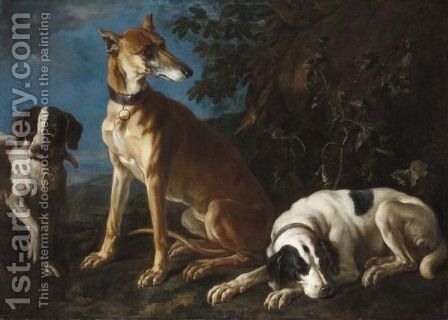 A Greyhound And Two Spaniels In A Landscape by (after) Franz Werner Von Tamm - Reproduction Oil Painting