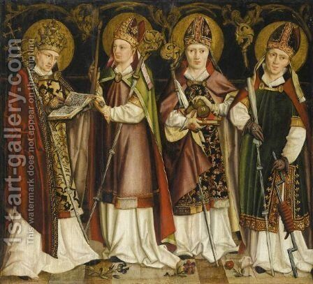 Four Saint Bishops, Including St. Nicholas Of Bari And St. Erasmus by Cologne School - Reproduction Oil Painting