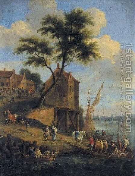 Figures Disembarking From A Ferry With Their Horses, A Village Beyond by Mathys Schoevaerdts - Reproduction Oil Painting