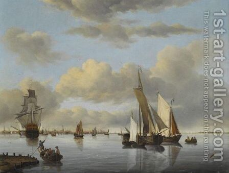 Dutch Shipping In A Calm, The City Of Amsterdam Beyond by Jan Wubbels - Reproduction Oil Painting