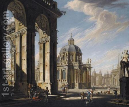An Architectural Capriccio With Figures Conversing On The Piazza by Jacopo Fabris Venice - Reproduction Oil Painting