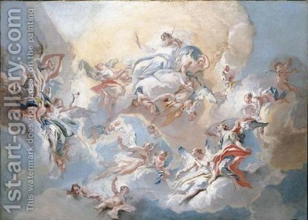 God The Father And Angels In Glory by Carlo Innocenzo Carlone - Reproduction Oil Painting