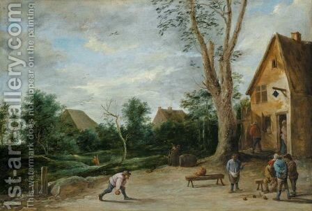 A Village Scene With Four Peasants Playing Bowls Before A Tavern, Two Cottages Beyond by David The Younger Teniers - Reproduction Oil Painting