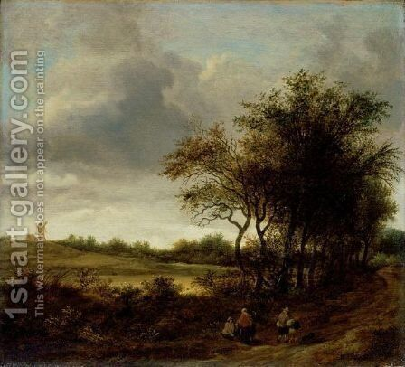 A Landscape With Figures On A Tree-Lined Path, A Windmill Beyond by Guillam Dubois - Reproduction Oil Painting