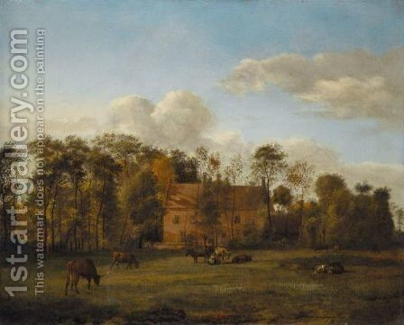 A Landscape With Cattle Grazing In An Open Field Before A Manor House, A Milkmaid At Work by Jan Van Der Heyden - Reproduction Oil Painting